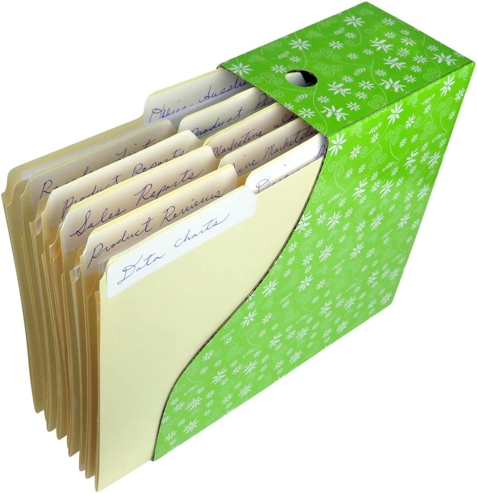 Evelots Magazine File Holder-Organizer-Full 4 Inch Wide-Floral-With Labels-Set/6: Home & Kitchen