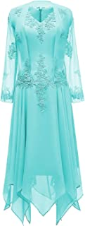 V-Neck Chiffon Tea Length Mother of The Bride Dress Long Sleeves Lace Formal Evening Gowns with Jacket
