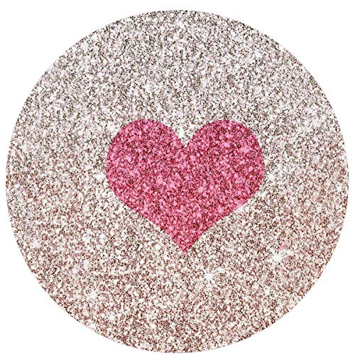 W-WEE Pink Love Hearts Cojines Antideslizantes cómodos Alfombra Redonda Alfombra Redonda Alfombrilla Linda Alfombra de baño Redonda 60cm