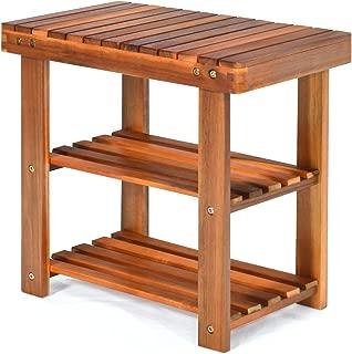 PATIOJOY Shoe Rack Bench, 3-Tier Shoe Organizer, Storage Shelf & Seat, Made of Sturdy Acacia Wood, Wide Application, Idea for Entryway, Hallway, Living Room, Bathroom, Teak Color (19-inch)