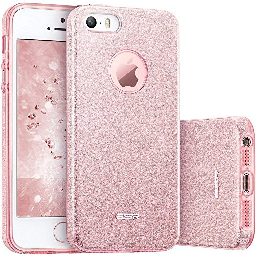 ESR Funda iPhone 5S/SE/5 Carcasa Dura Brillante Brillo Purpurina llamativa para Apple iPhone - Oro Rosa
