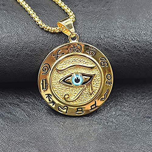 DUEJJH Co.,ltd Necklace Hip Hop Ancient Egypt Round Jewelry Collares Gold Color Stainless Steel Chain Egyptian Eye of Horus Necklaces Pendants 50 cm