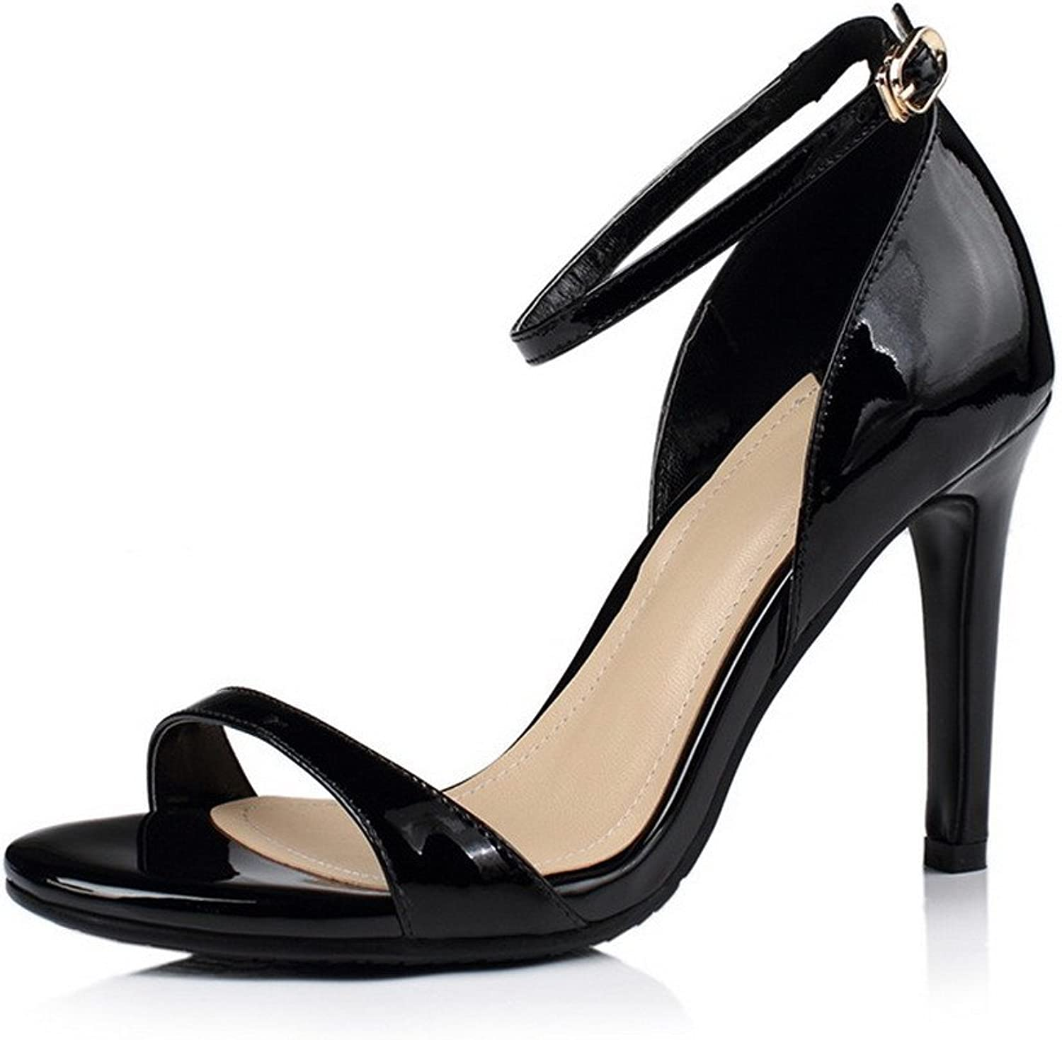 WeenFashion Women's High-Heels Patent Leather Solid Buckle Open Toe Sandals
