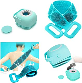 Twonzilla 2 Pcs Combo Silicone Body Back Scrubber, Double Side Bathing Brush For Skin Deep Cleaning Massage, Dead Skin Rem...