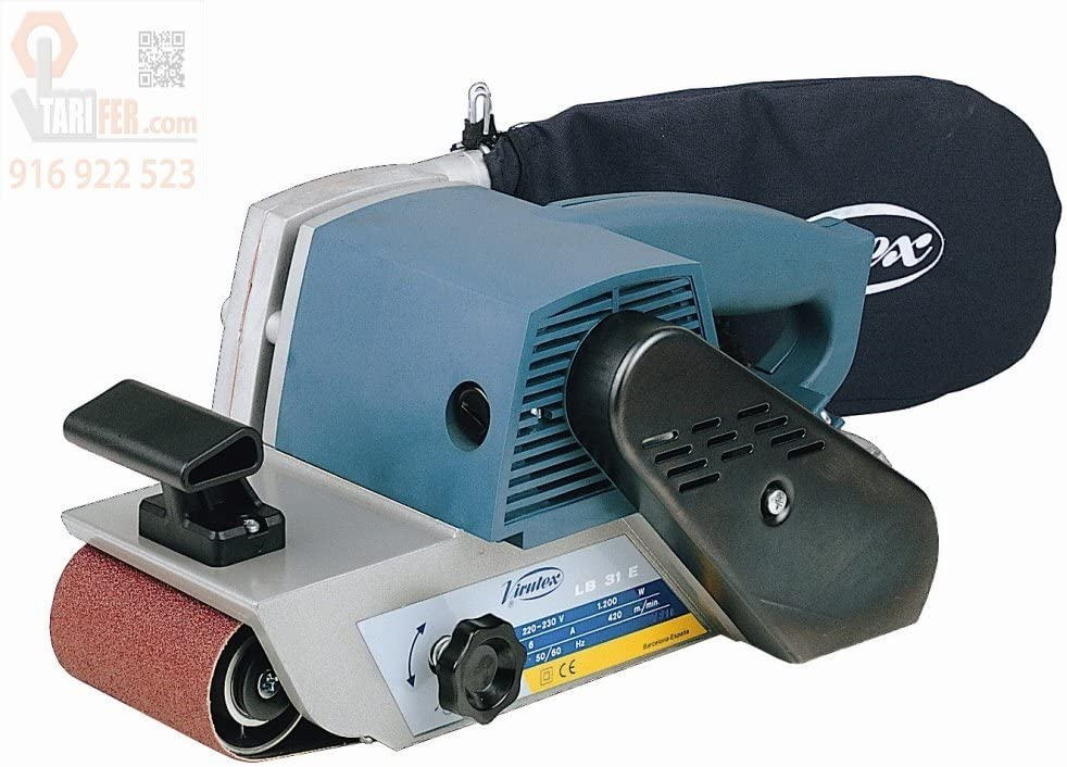 VIRUTEX 3200100 3200100-Lijadora LB31E con aspiración 230V 1200W Superficie 175x100mm Banda 690x100mm 6,8 Kg, Negro