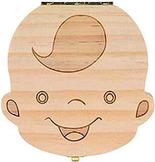 Outflower Madera de Caja Almacenamiento de Dientes Leches Caja de Recién Nacidos Recuerdo para Bebés Regalos,para Boy Inglés