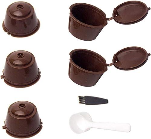 5 Piezas Cápsulas Filtros de Café con Cuchara y Cepillo Filtros de Café Recargable Reutilizable Filtro de Cápsula de ...