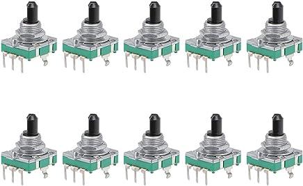 uxcell 360 度旋转编码开关数字电位计 EC11 EC16 EC16 5 Pins 15mm D-Shaft a19012500ux0409