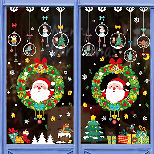 Pegatinas decorativas para decoración navideña, centros comerciales, escaparates, adhesivos murales de cristal, Año Nuevo, vacaciones, pintura autoadhesiva removible