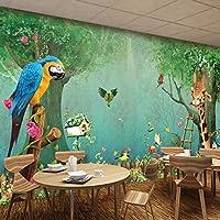 XIAOHUKK 粘着性のある3D壁紙壁画モダンキリンオウムおとぎ話森の芸術壁画ウォールステッカーリビングルーム寝室家の装飾防水ステッカー