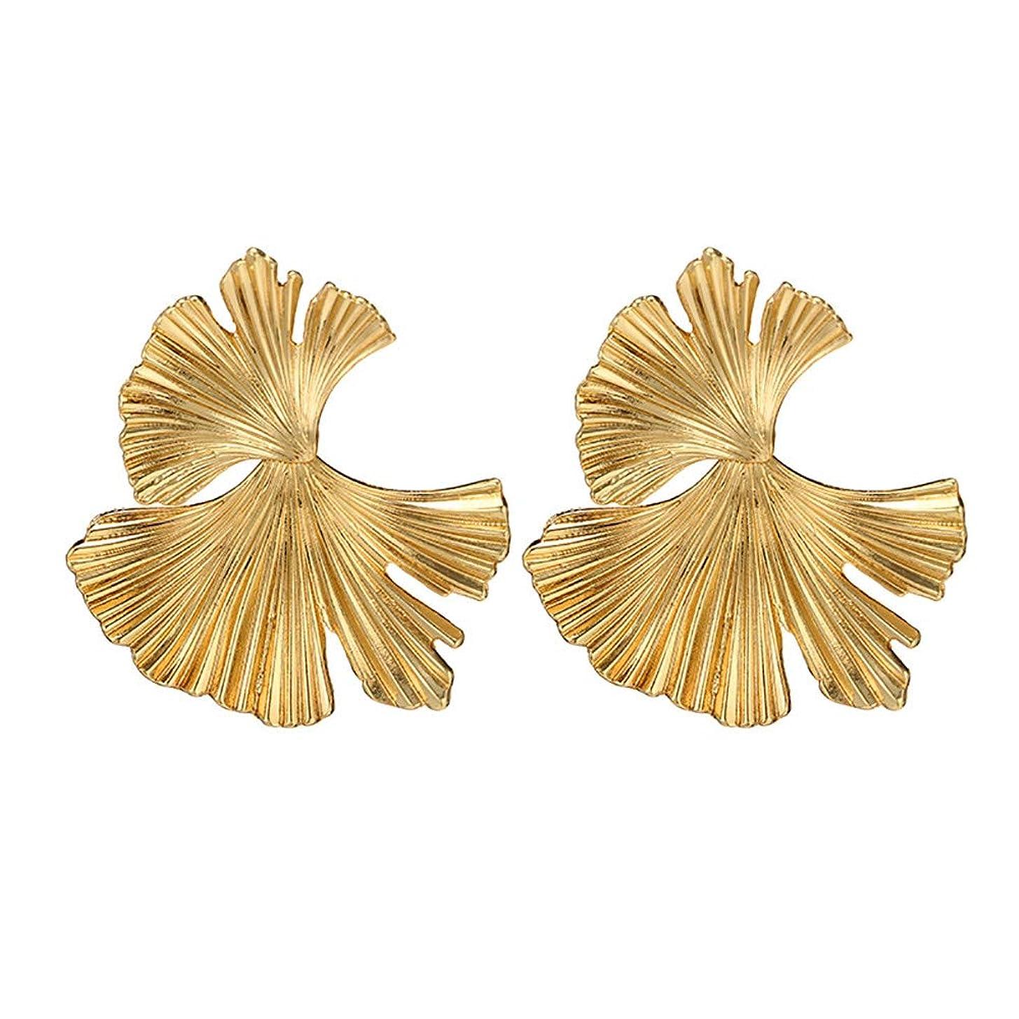 苦しむ呼ぶ加速するNicircle 女性ヴィンテージファッションクリエイティブビッグメタルフラワーイチョウ葉の合金のイヤリング Women Vintage Fashion Creative Big Metal Flower Ginkgo Leaf Alloy Earrings