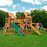 Pioneer Peak Cedar Swing and Play Set w/ Wave Slide, Rock Climbing Wall, Picnic Table, Two Swings, Ring/Trapeze Swing, Sandbox, Bridge and Tower, Tire Swing, Rope Ladder and More!
