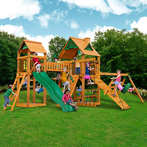 Best Review Of Pioneer Peak Cedar Swing and Play Set w/ Wave Slide, Rock Climbing Wall, Picnic Table...