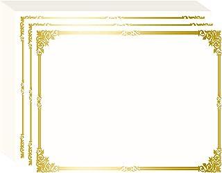 Fasmov Lot de 50 feuilles de papier pour certificats avec bordure dorée compatible avec imprimante laser et jet d'encre 27...