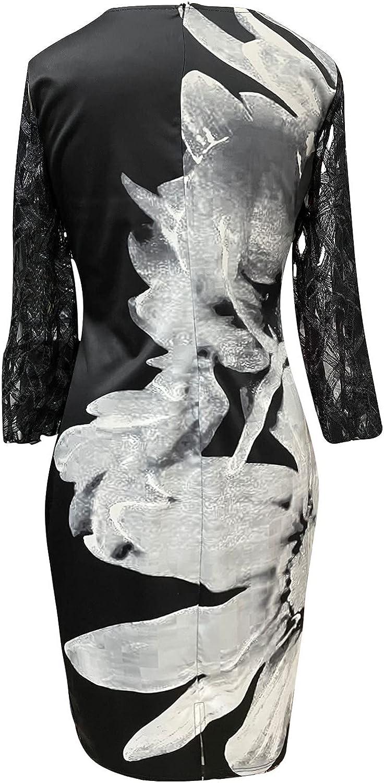 Womens Plus Size Elegant Dress Fashion Summer Lace Patchwork O-Neck 3/4 Sleeve Slim Long Dress