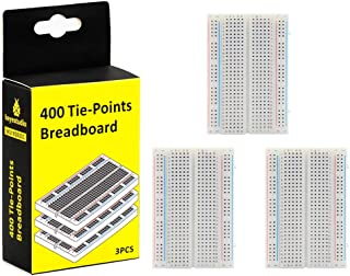 KEYESTUDIO Solderless Breadboard Kit 400 Hole 3 pcs for Arduino Breadboard Prototyping, Build Temporary Circuits Without Soldering