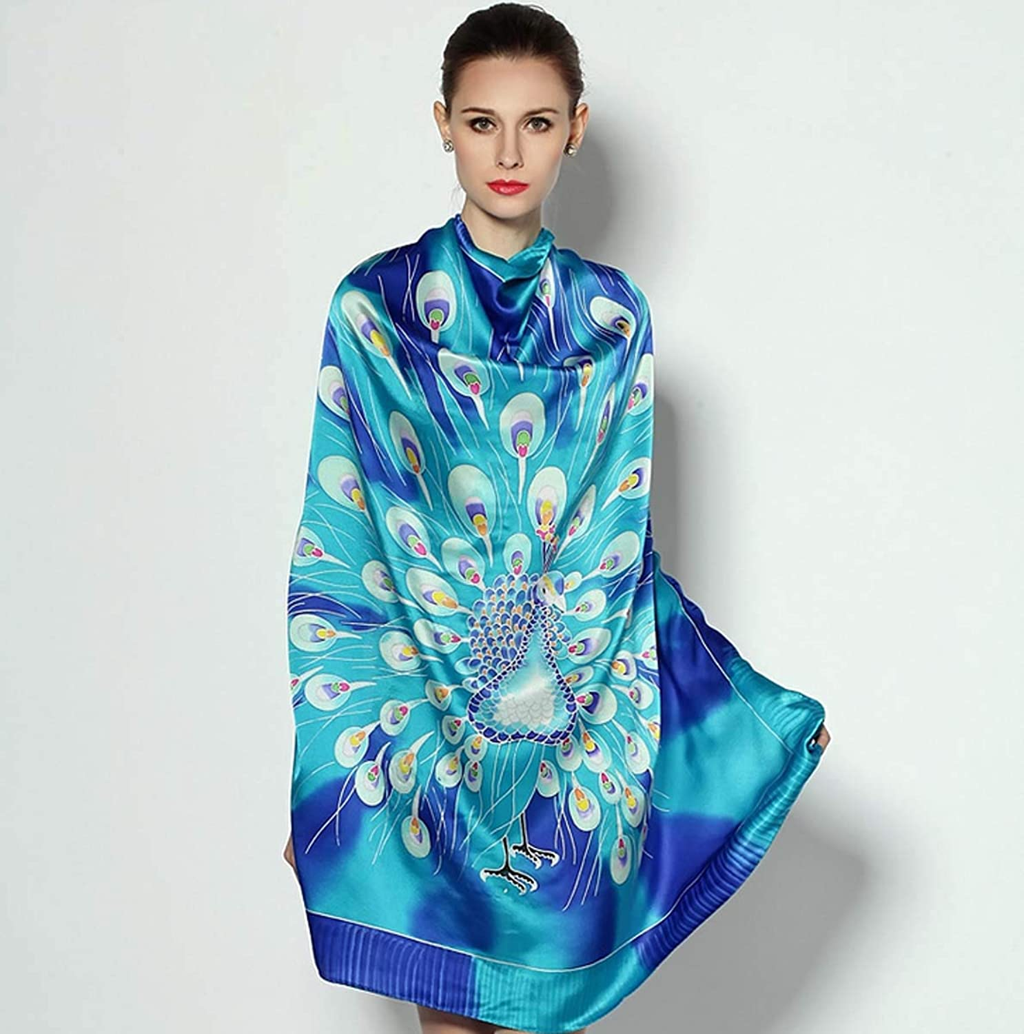 100% Silk Scarfs for Women, HandPainted Lightweight Satin Shawl and Fashion Thin Scarves for Ladies