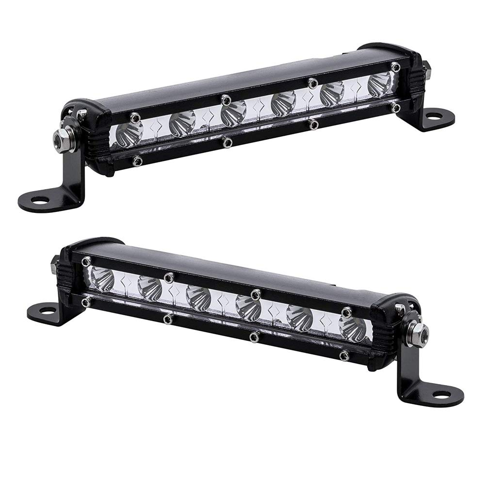Auxtings 2 Stücke 7 Zoll 30 Watt Spot Ultra Slim Einreihige Led Lichtleiste Flutlichtstrahl Mit Halterung Für Off Road Ranger Atv Utv Suv Auto