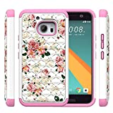 HTC 10 Case,M10 Case, Vfunn [Shock Absorption] Studded Rhinestone Bling Hybrid Dual Layer Armor Slim Defender Protective Case Cover for HTC M10 HTC 10 (Camellia)