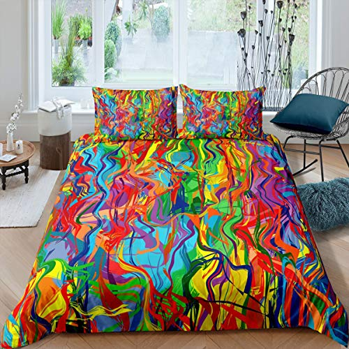 Hippie Graffiti Comforter Cover Set Queen Size for Kids Boys Teens Youth Bedding Duvet Cover Set Modern Bedclothes Wall Urban Street Art Irregular Colorful Personalized Decor 3 Pcs Soft