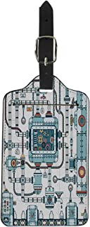 Pinbeam Luggage Tag Fantastic Complex Steampunk Machine Made of Interlocking Pipes Suitcase Baggage Label