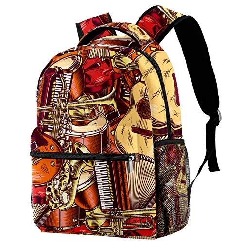 Backpacks for Adults Boys Girls Kids Durable Travel Business Bags Laptop Bags Daypack for School Outdoor Work Red Guitars