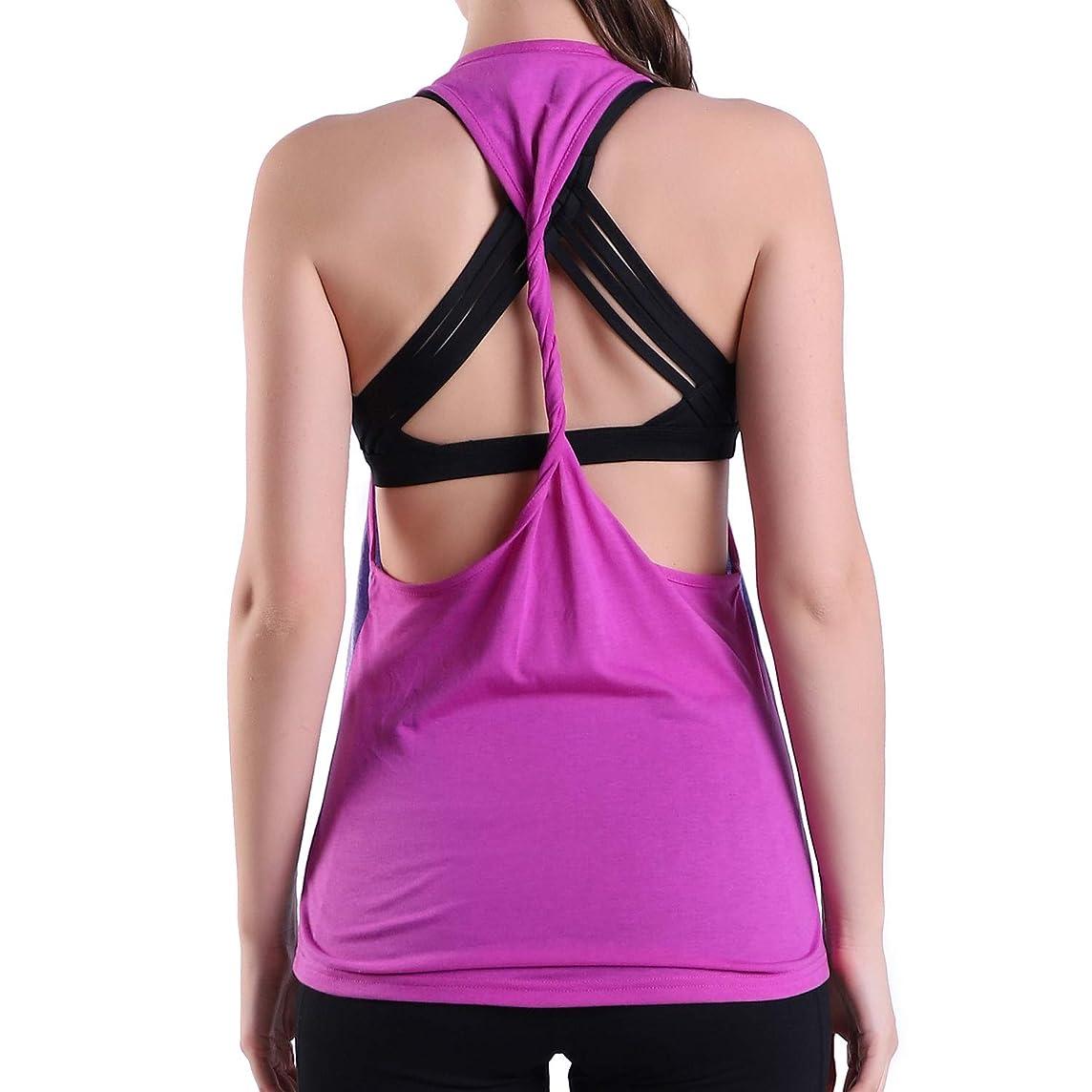 Empirelion Two-Tone Yoga Twistback Tank Tops Womens Workout Racerback Sleeveless