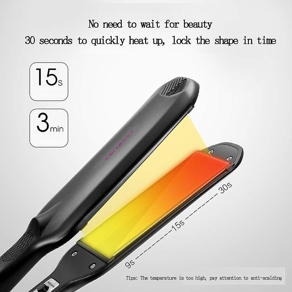 前書き誇張それにもかかわらずヘアカーリングワンド二重使用ストレートカール電気アイロンストレートクリップ、焼き付き防止フロントエンド髪を傷つけない、ブラック