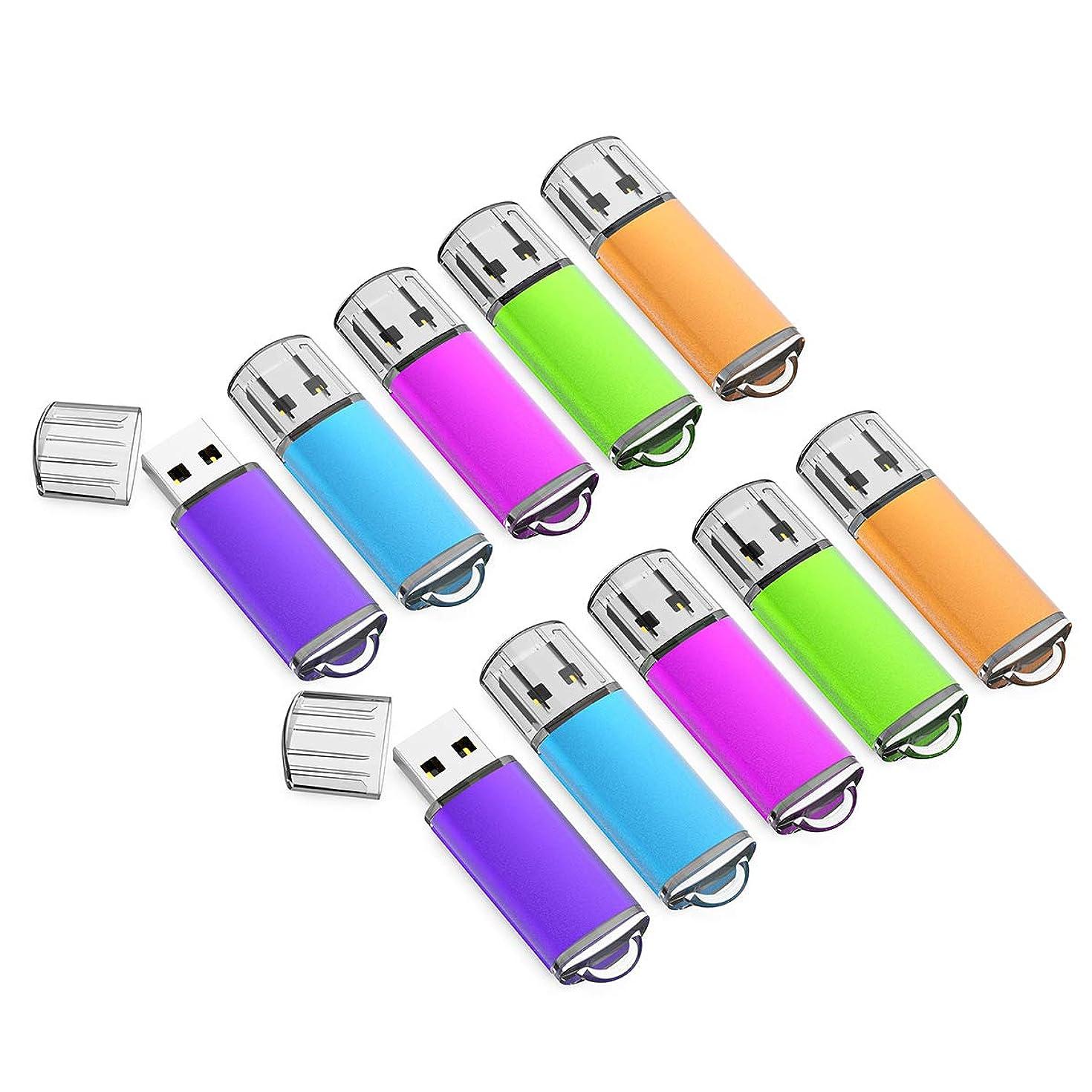 32GB USB Flash Drive 10 Pack with Easy-Storage Bag Memory Stick K&ZZ Thumb Drives Gig Stick USB2.0 Pen Drive for Fold Digital Data Storage, Zip Drive, Jump Drive, Flash Stick, Mixed Colors