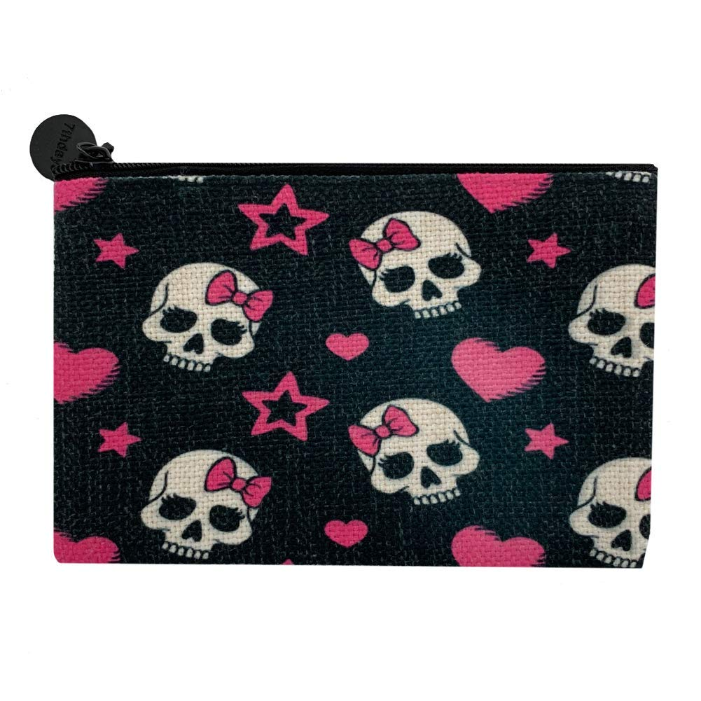 Girly Skull with Pink Hearts Linen Weekly update Quality inspection Zippered Coi Small Makeup Bag