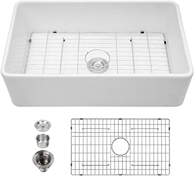 33 White Farmhouse Sink - Kichae 33 Inch Kitchen Sink Apron Front White Fireclay Ceramic Porcelain Single Bowl Farm Sink