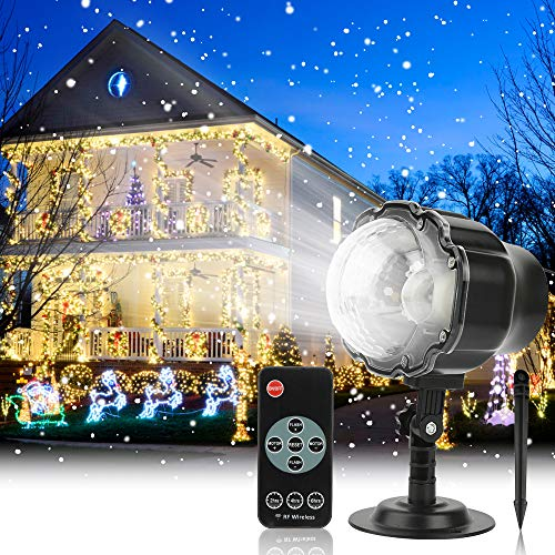 Christmas Projector Light Outdoor Snowfall LED Projector Waterproof Rotating Snow Projection with RF Remote Snow DecorativeProjector for Christmas, Holiday, Halloween Party, Wedding, Garden, Yard