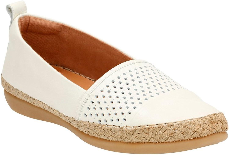CLARKS Woherren Reeney Helen Slip-On schuhe,Weiß Leather,10
