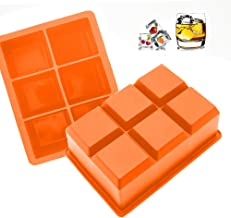 Large Ice Cube Tray for Whiskey - Orange Silicone Ice Tray Mold for 6 Giant Ice Cubes (1 Pack)