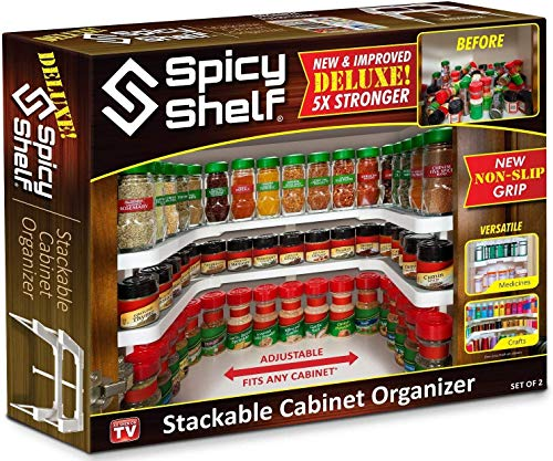 Spicy Shelf Deluxe - Expandable Spice Rack and Stackable Cabinet & Pantry Organizer (1 Set of 2 shelves) - As seen on TV(Spicy Shelf Deluxe)