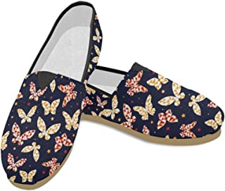 D-Story Fashion Sneakers Flats Womens Classic Slip-On Canvas Shoes Loafers
