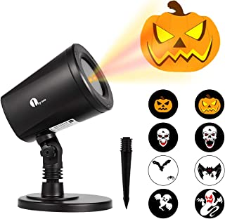 1byone Halloween Led Pattern Projection Lights Auto-Shifting Images & Switchable Pattern Outdoor/Indoor Use, IP65 Water-Resistant