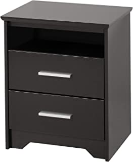 Wood & Style Black Coal Harbor 2 Drawer Tall Nightstand with Open Shelf Comfy Living Home Décor Furniture Heavy Duty