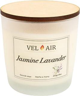 VEL AIR. Vela Aromática Jasmine Lavander (Jazmín y Lavanda) Cera de soya, Ecologicas. 250 gr/ 9 oz.
