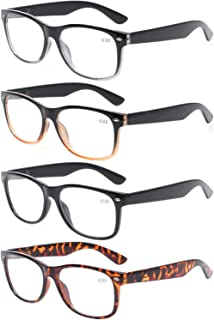 4 Pairs Deluxe Reading Glasses - Comfortable Stylish Simple Standard Fit Spring Hinge Readers