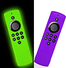 2-Pack Remote Cover Replacement for TV Stick Lite 2020 Control, Silicone Protective Case with Lanyard (Lime Green and Purple)