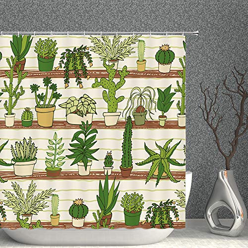 Tropical Plants Shower Curtain Green Potted Floral Cactus Flower Garden Scenic Decor Fabric Bathroom Curtains,70x70 Inch Waterproof Polyester with Hooks
