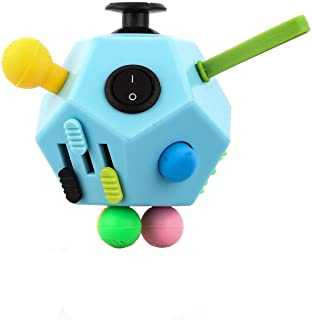 UOOE 12 Side Fidget Cube,Best Fidget Toy Cube Relief Stress and Anxiety Depression Anti for Kids and Adults with ADD, ADHD, OCD, Autism(Blue & Mix Colors B3)