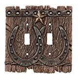 Western Star Light Switches - BLACK FOREST DECOR Western Ranch Double Switch Plate