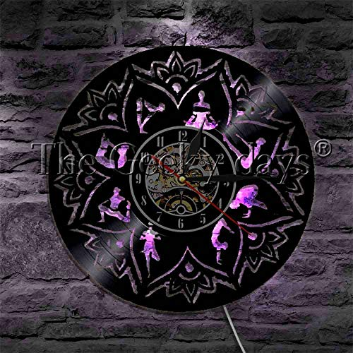 GVC 1 Pieza Lotus Mandala Yoga Silhouette Vinyl Record Reloj de Pared con Cambio de Color Keep Fit Sport Meditate Zen LED Night Light