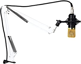 Candora Adjustable Studio Recording Microphone Stand Desk Suspension Boom Scissor Arm Stand with Microphone Clip & Table Mounting Clamp (WHITE)