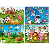 Dreampark Puzzles for Kids Ages 3-8, 4 Pack Wooden Jigsaw Puzzles 60 Pieces Preschool Educational Learning Toys Set for Boys and Girls