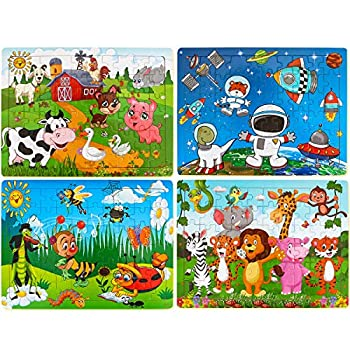 Dreampark Puzzles for Kids Ages 3-8 4 Pack Wooden Jigsaw Puzzles 60 Pieces Preschool Educational Learning Toys Set for Boys and Girls