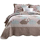 ENJOHOS 3-Piece Queen Size Quilt Set with Pillow Shams Lightweight Reversible Bedspread for Queen Bed Korean Style Pink Flower Garden on Kaki Daybed Bedding