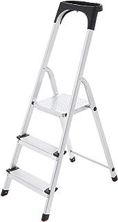 SONGMICS Escalera doméstica con 3 peldaños, Escalera de aluminio antideslizante, Escalera plegable, con Pasamanos y bandeja, Carga máxima de 150 kg, Certificado TÜV SÜD GS según EN131 GLT03BS